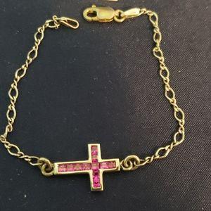 Sterling silver crystal sideways cross bracelet